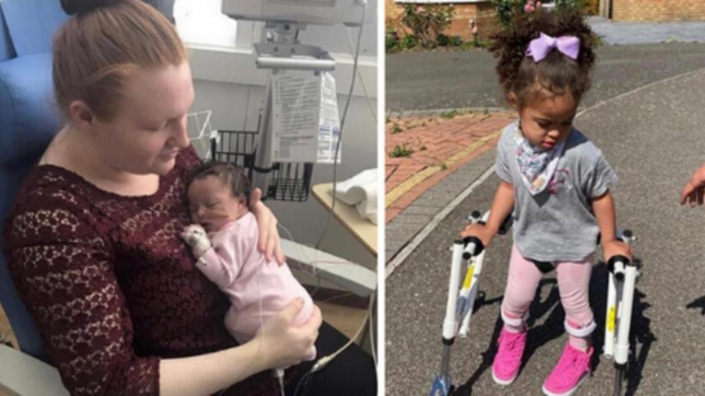 Menina com paralisia cerebral dá os primeiros passos durante confinamento