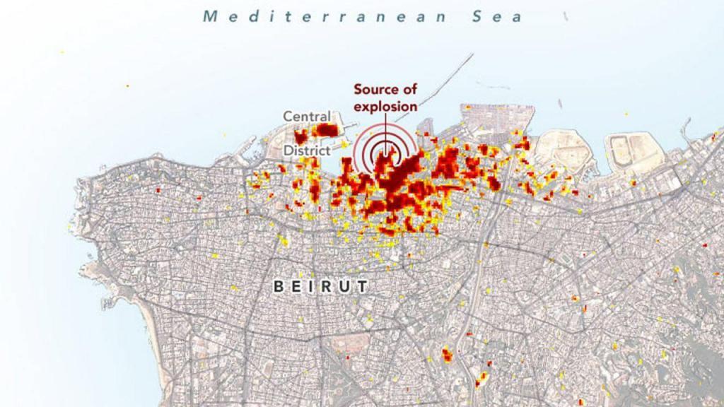 Imagens de satélite da NASA mostra dimensão da destruição em Beirute
