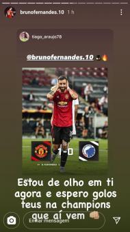 Mensagem de Bruno Fernandes para Tiago Araujo (foto Instagram)