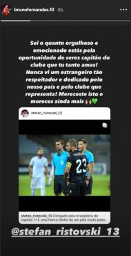 Bruno Fernandes elogia capitão Ristovski: «Mereces ainda mais» (instagram)