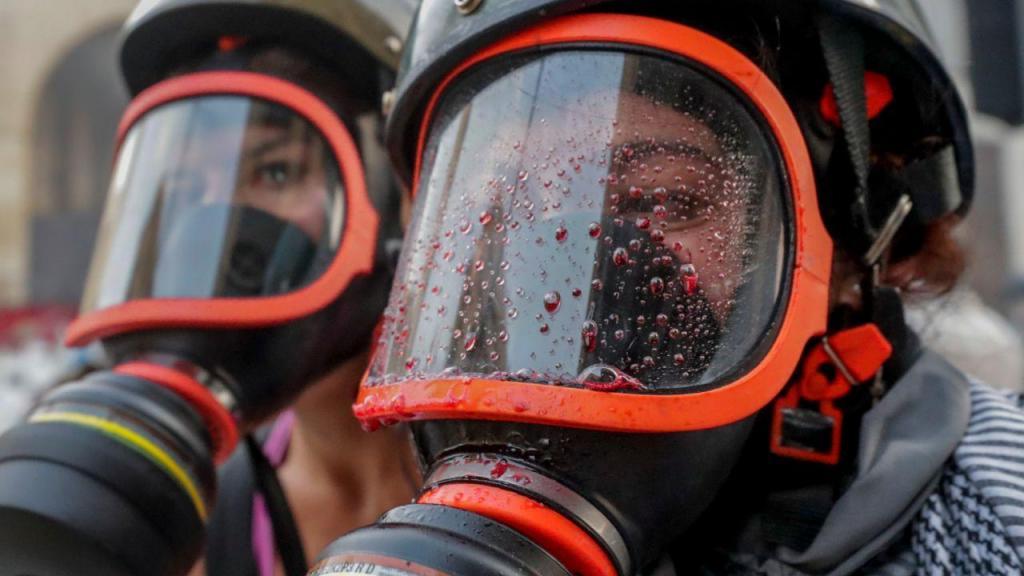 Libaneses em confrontos com a polícia