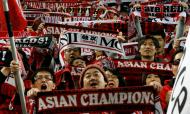 Adeptos do Urawa na Liga dos Campeões asiática, em 2017 (Shuji Kajiyama/AP)
