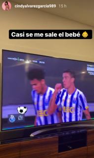 A reação de Cindy Álvarez ao golo de Uribe no Sporting-FC Porto (Instagram)