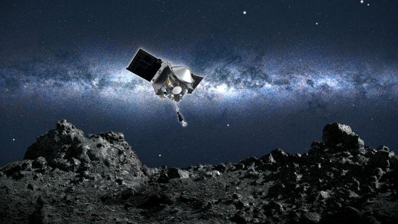 Desenho da sonda Osirix-Rex a aproximar-se do asteroide Bennu