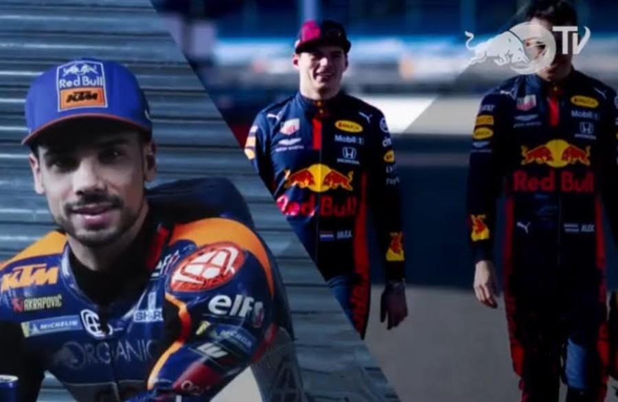 Miguel Oliveira, Max Verstappen e Alexander Albon (Reprodução Facebook Red Bull Racing)