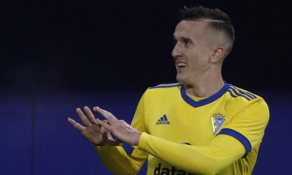 Salvi Sanchez festeja golo marcado ao Eibar