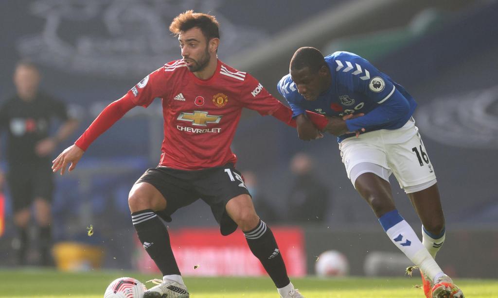 Bruno Fernandes no Everton-Manchester United