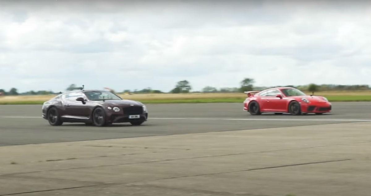 Bentley Continental GT vs. Porsche 911 GT3 (reprodução «YouTube «Carwow»)