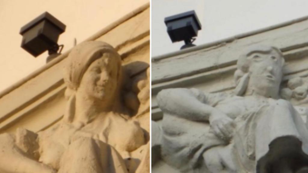 Estátua restaurada ridicularizada em Espanha