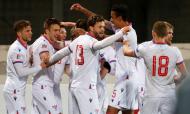 Ilhas Faroé festejam golo no empate na Letónia (1-1) na quinta jornada da Liga das Nações (Toms Kalnins/EPA)