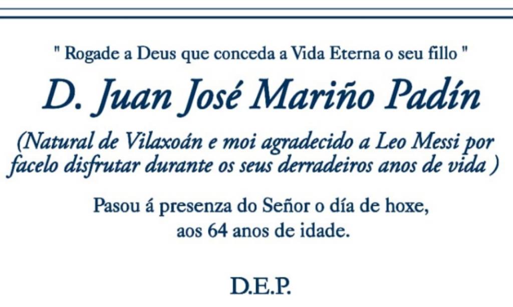 Juan José Mariño deixa agradecimento a Messi no seu obituário (twitter)