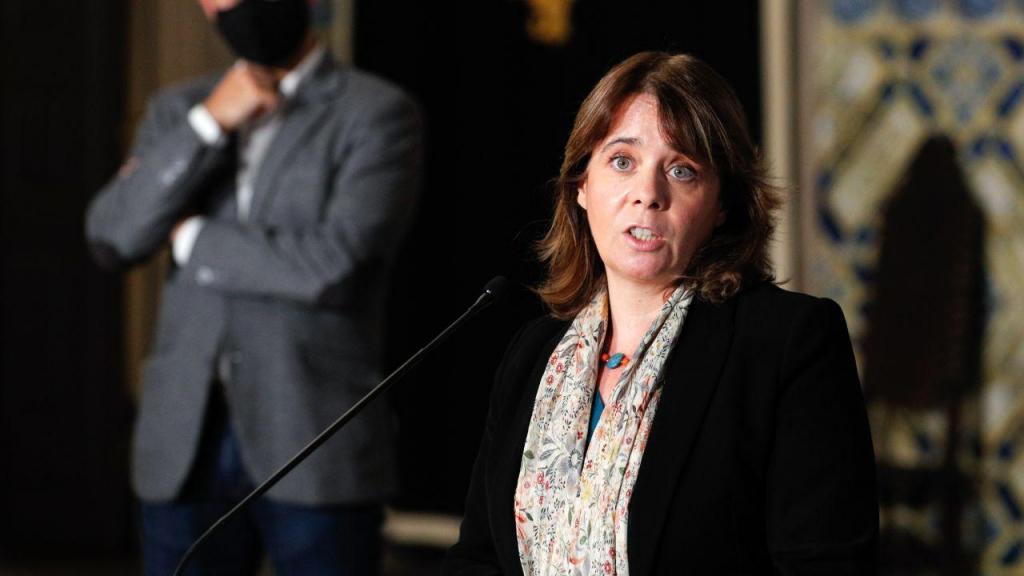 Catarina Martins, fala aos jornalistas após uma audiência com o Presidente da República