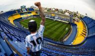 Maradona homenageado durante o Boca Juniors-Newell's Old Boys (Marcelo Endelli/AP)