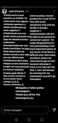 Mensagem de Pedro Santos