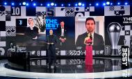 The Best: Cristiano Ronaldo, Robert Lewandowski e Lionel Messi no anúncio do prémio de melhor jogador de 2020 (Valeriano Di Domenico/AP)