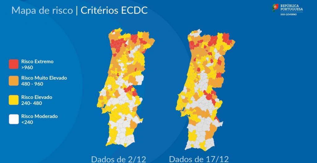 Mapa dos concelhos de risco