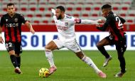 Nice-Lyon: Memphis Depay e Hicham Boudaoui (Sebastien Nogier/EPA)
