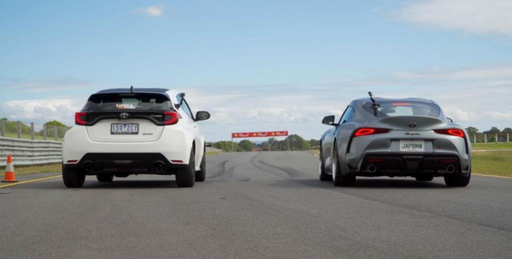 GR Yaris vs. GR Supra (reprodução YouTube «Car Expert»)