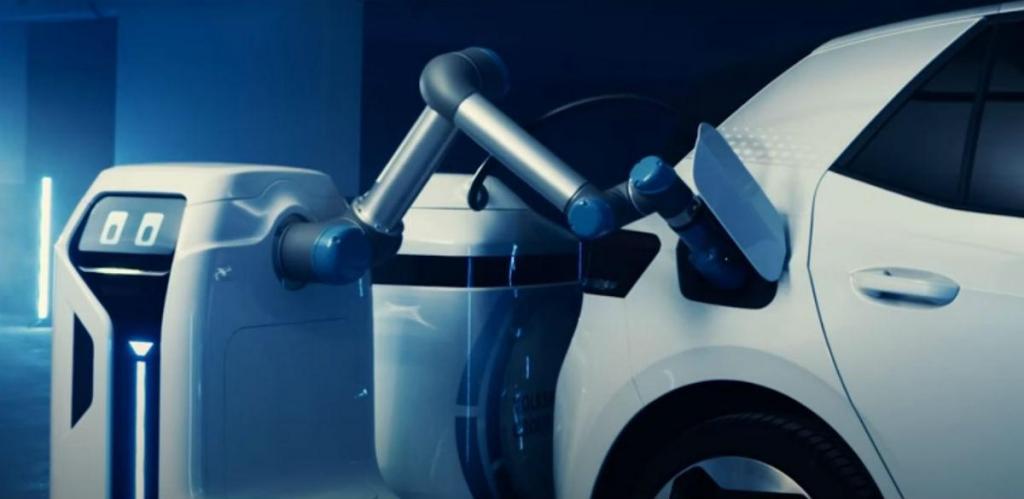 Robô de carregamento da VW (reproduão YouTube Volkswagen News)