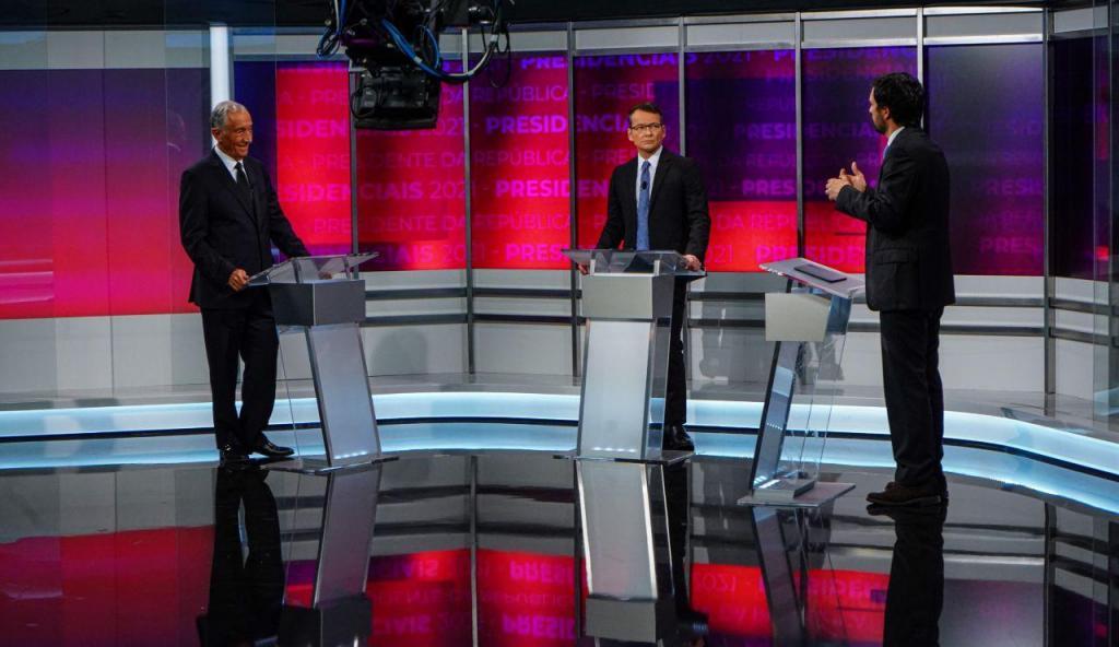 As imnagens do debate presidencial entre João Ferreira e Marcelo Rebelo de Sousa
