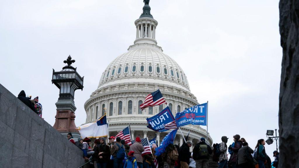 Apoiantes de Trump ignoram o distanciamento e protestam junto ao Congresso