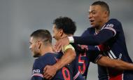 Supertaça de França: Mauro Icardi festeja o golo do PSG com Marquinhos e Mbappé (Christophe Ena/AP)