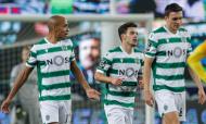 Pedro Gonçalves, João Mário e João Palhinha após o 1-0 no Sporting-Rio Ave (António Cotrim/LUSA)