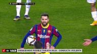 Messi expulso no final da Supertaça depois de um gesto muito feio