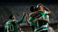 Taça da Liga: Sporting-FC Porto, Jovane Cabral festeja com Nuno Santos o 2-1 final (Paulo Cunha/LUSA)
