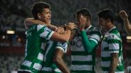Taça da Liga: Sporting-FC Porto, Jovane Cabral festeja com Gonzalo Plata, Matheus Nunes e Pedro Porro o 2-1 final (Paulo Cunha/LUSA)