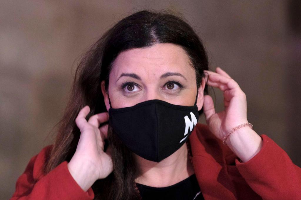 Marisa Matias num comício virtual na Alfândega do Porto