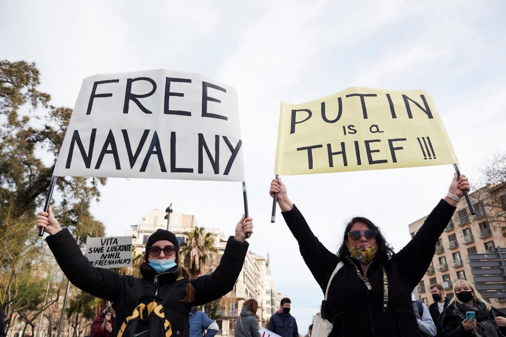 Manifestação pela libertação de Navalny