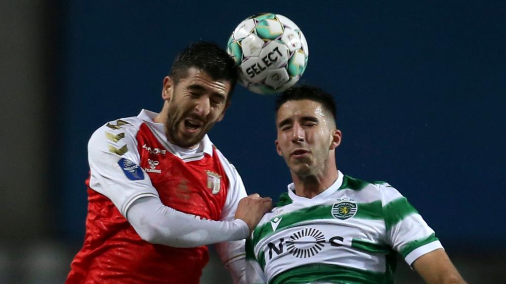 Sporting-Sp. Braga: lance entre Paulinho e Gonçalo Inácio (LUSA)