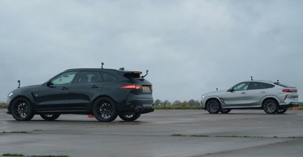 BMW X6M vs Jaguar F-Pace SVR Lister (Reprodução Youtube Carwow)