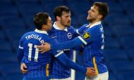 Leandro Trossard inaugurou o marcador no Brighton-Tottenham (Andrew Boyers/AP)