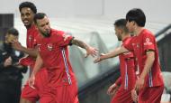 Lucas Mineiro, João Afonso, Pedrinho e Fujimoto festejam o golo inaugural no Boavista-Gil Vicente (Fernando Veludo/LUSA)