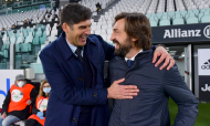 Paulo Fonseca e Andrea Pirlo no Juventus-Roma (Fabio Rossi/AP)