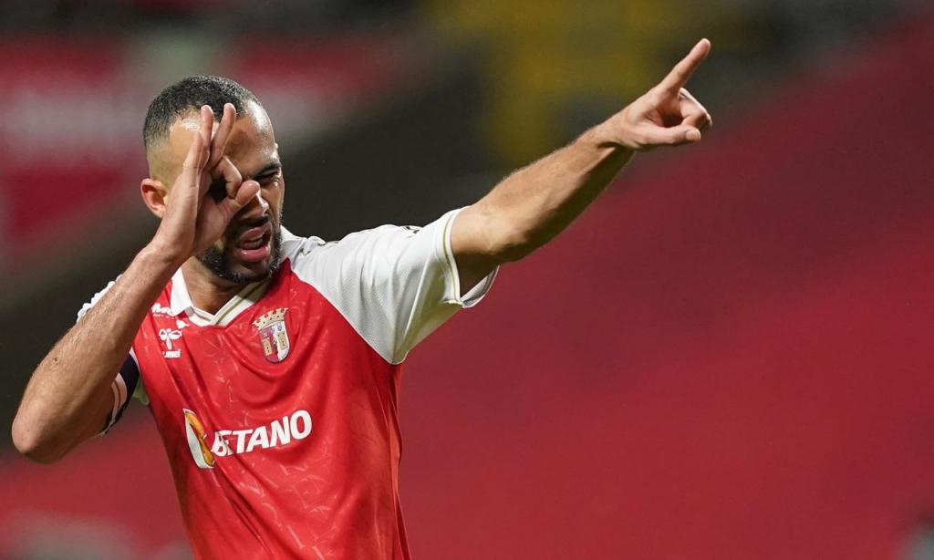 Fransérgio festeja o 1-2 no Sp. Braga-FC Porto (Hugo Delgado/LUSA)