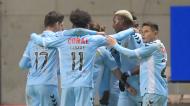 Nacional festeja o golo que abriu o marcador no Estádio do Bessa (Fernando Veludo/LUSA)