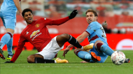 Manchester United-West Ham da Taça de Inglaterra: lance entre Marcus Rashford e Craig Dawson (Phil Noble/EPA)