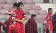Kanya Fujimoto festeja com Claude Gonçalves o 1-0 no Gil Vicente-Sporting (Hugo Delgado/LUSA)