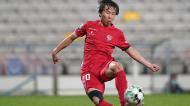 Kanya Fujimoto remata para o 1-0 no Gil Vicente-Sporting (Hugo Delgado/LUSA)