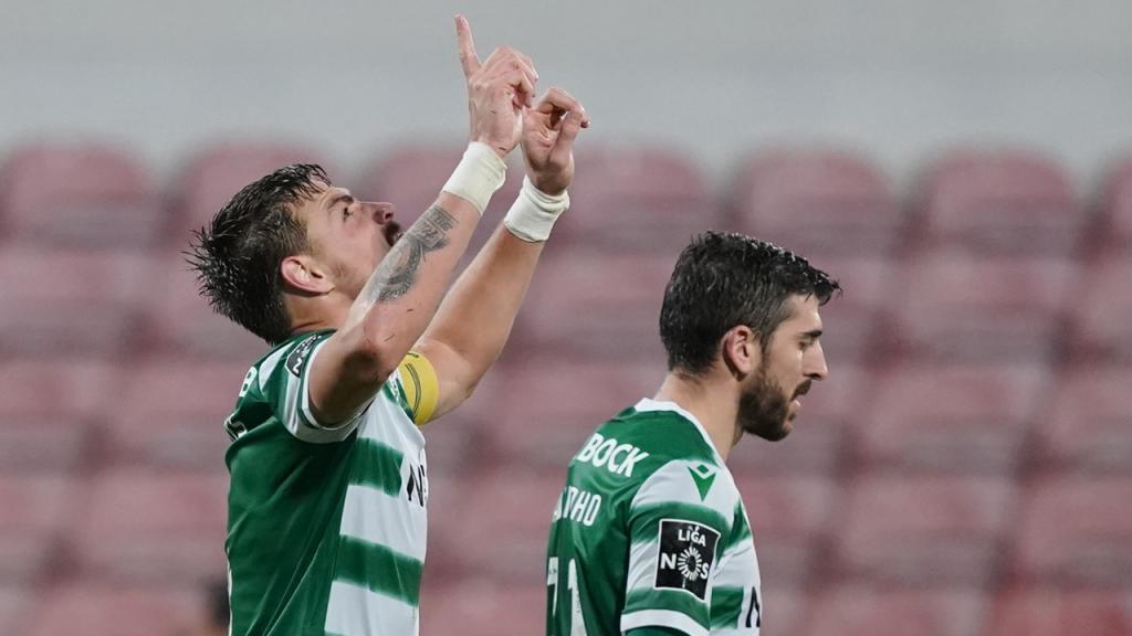 Sebastián Coates bisou para a reviravolta do Sporting em Barcelos (Hugo Delgado/LUSA)