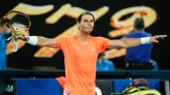 Rafael Nadal no Open da Austrália 2021, após a vitória sobre Michael Mmoh (Rick Rycroft/AP)