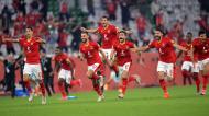 Al Ahly festeja vitória ante o Palmeiras nos penáltis para o terceiro lugar no Mundial de Clubes (Noushad Thekkayil/AP)