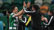 João Palhinha festeja o 2-0 final do Sporting ante o Paços de Ferreira (Mário Cruz/LUSA)