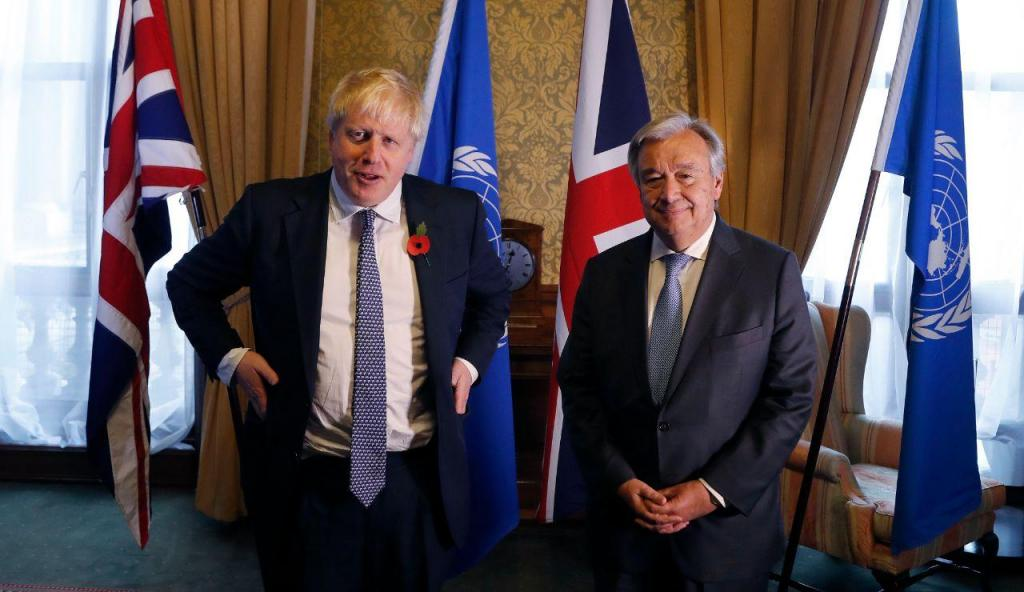 Boris Johnson e António Guterres