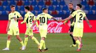 Marcos Llorente festeja com Vrsaljko, Giménez e Correa o 1-1 no Levante-Atlético de Madrid (Kai Foersterling/EPA)