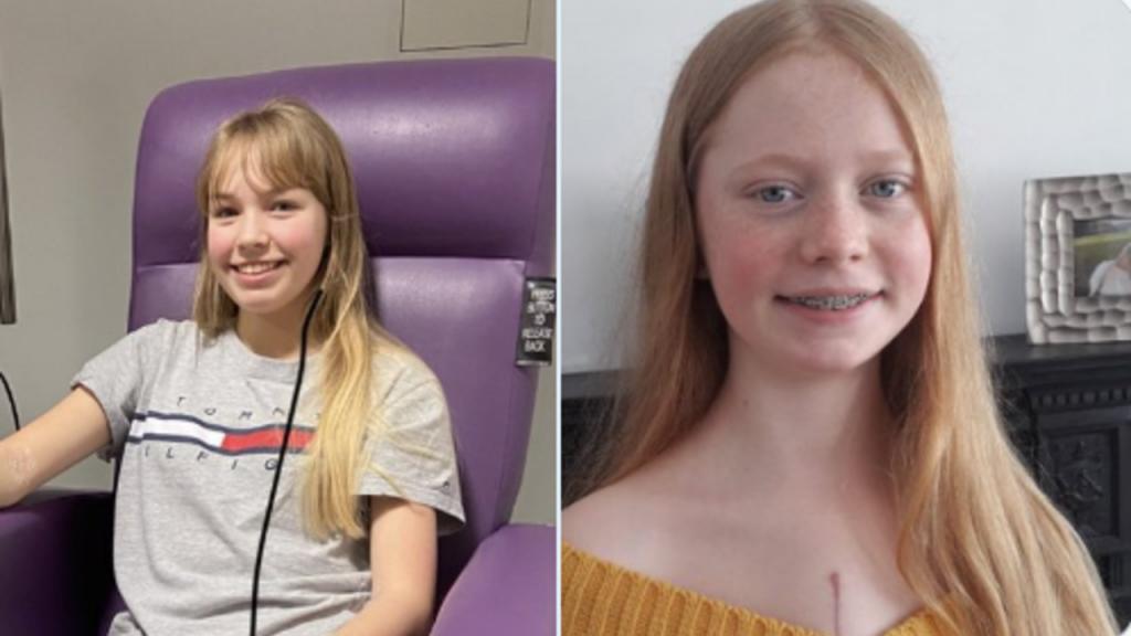 Doentes transplantadas, Anna, 16, e Freya, 14