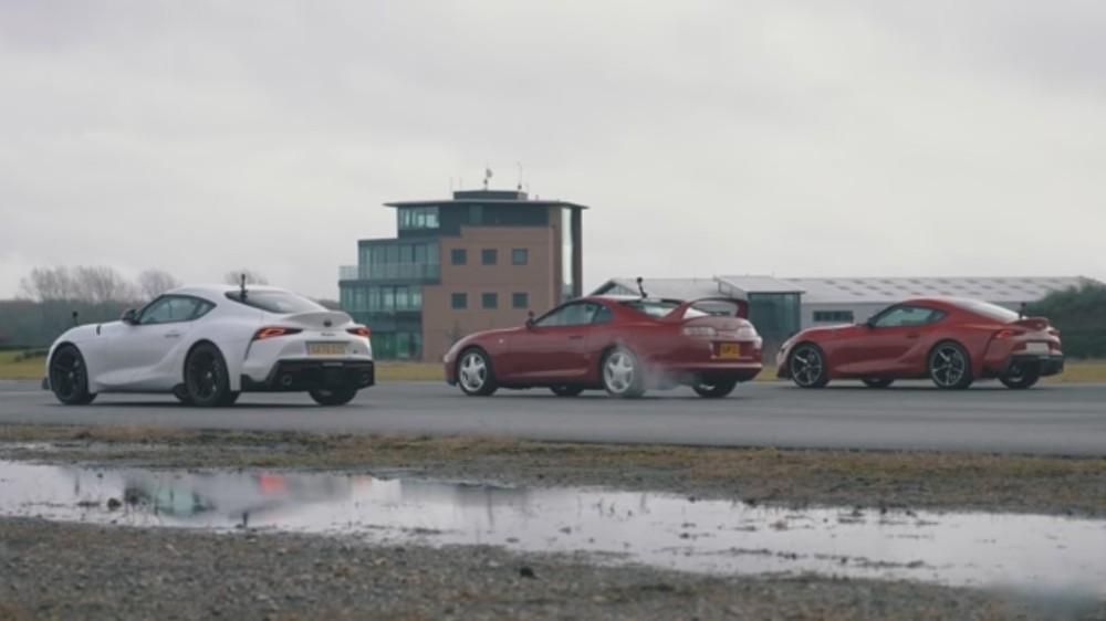 Drag Race entre três versões do Toyota Supra (Reprodução Youtube Carwow)